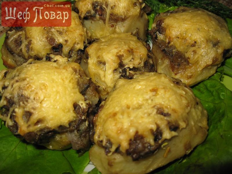 Картофель с грибами с фаршем в духовке рецепт пошаговый