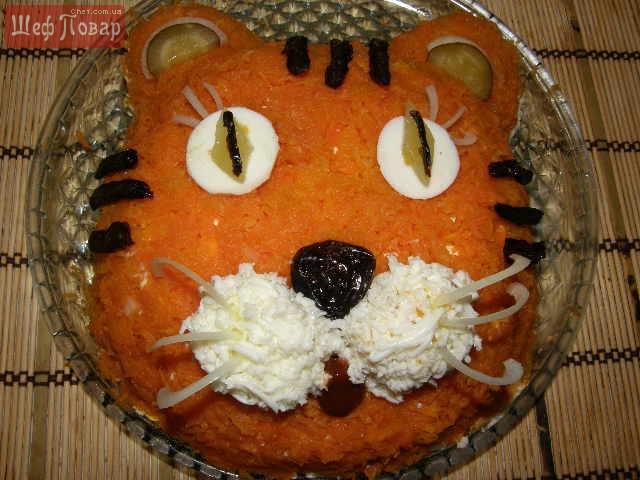 Детский салат Тигренок-Оливье | Кулинарные рецепты с
