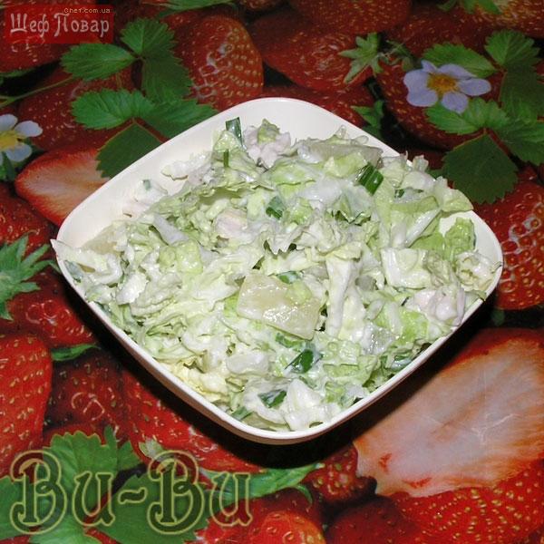 Салат из китайской капусты с ананасом рецепт