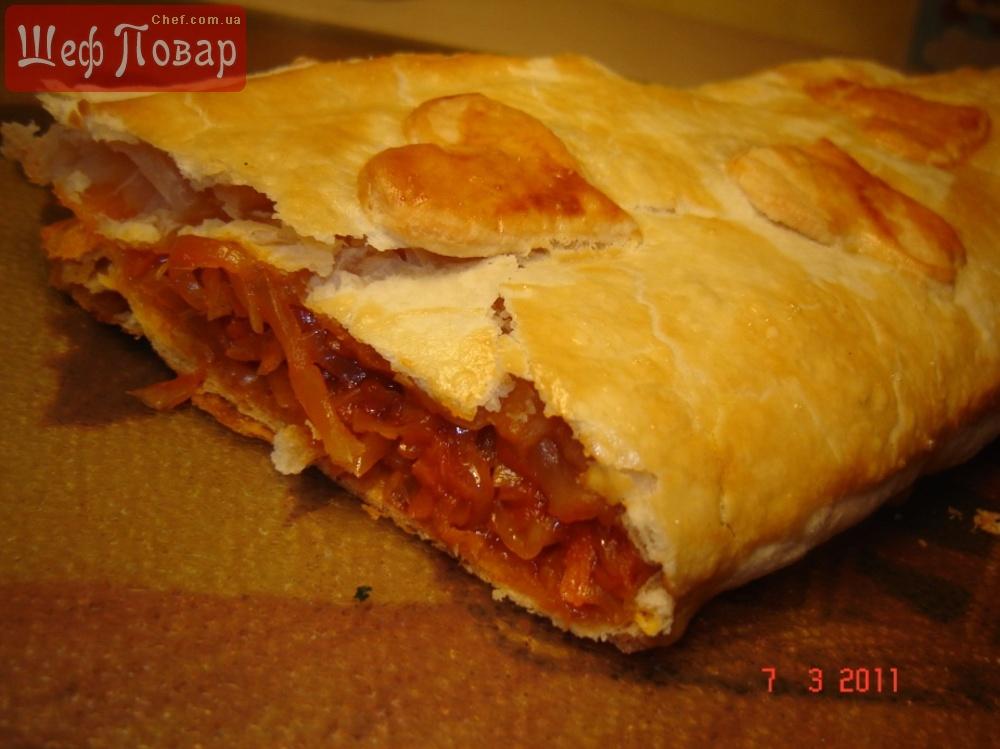 Слоеный пирог с капустой рецепт