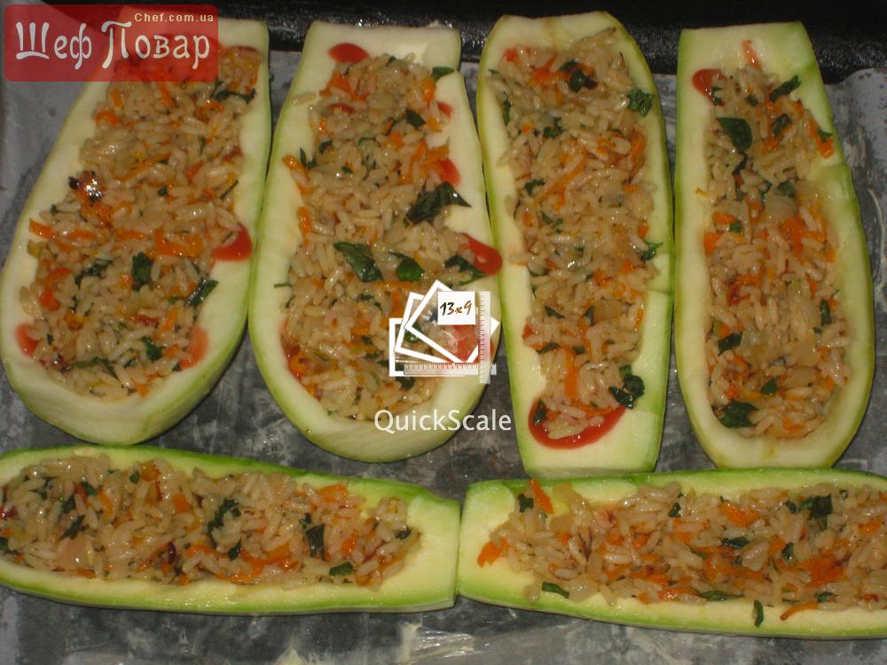 Кабачок фаршированный с рисом и фаршем в духовке рецепт