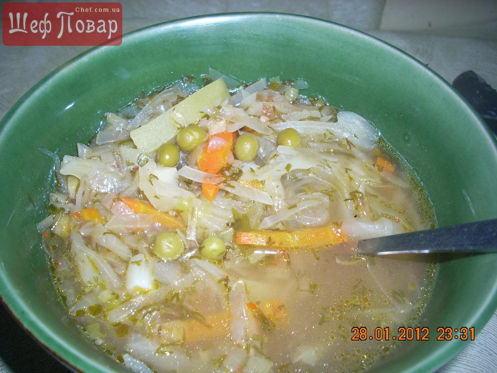 суп с капустой и горошком