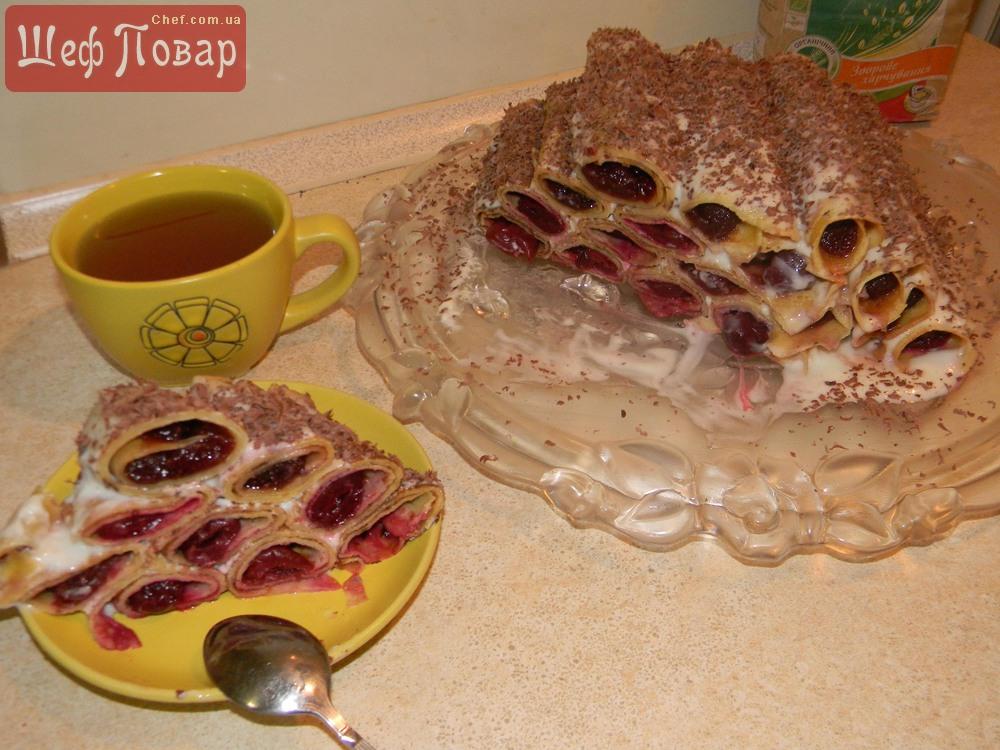 торт катюша из блинов рецепт с вишней