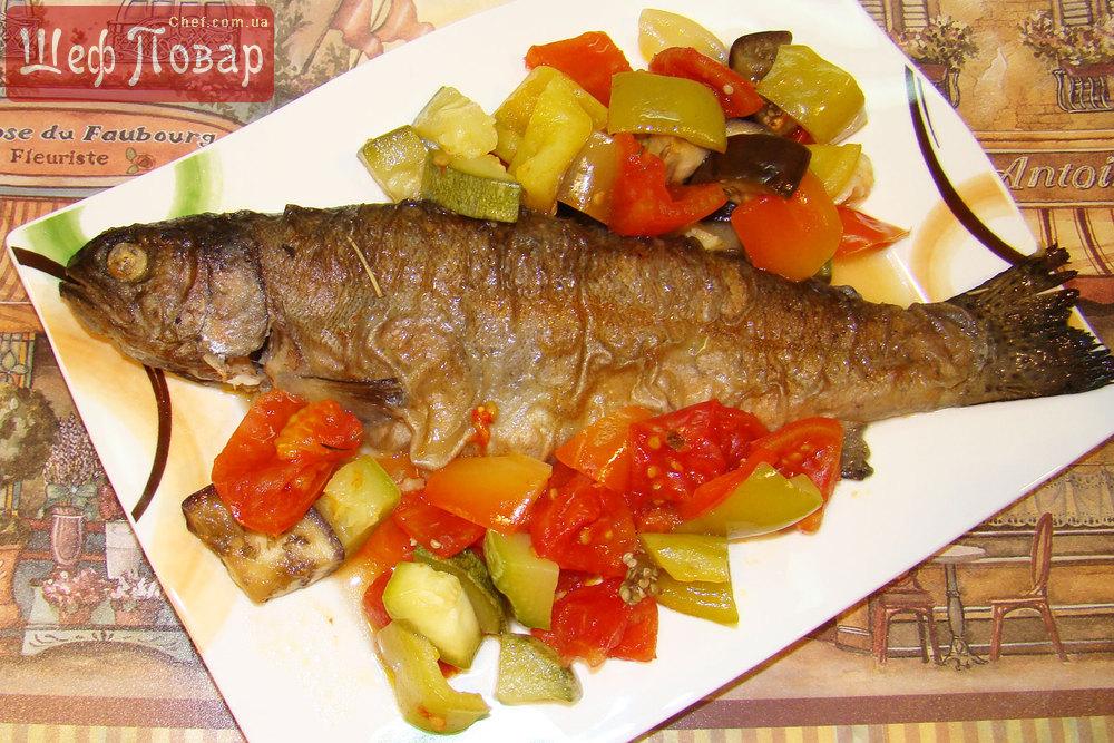 Форель с овощами запеченная в духовке с фото