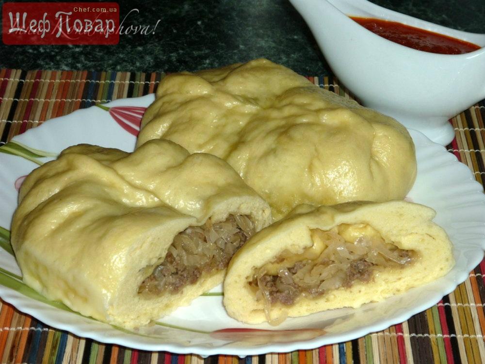пирожки на пару с мясом и капустой