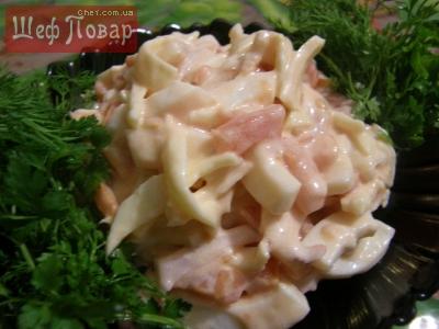 рецепт салатов с фото с креветками и кальмарами