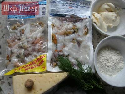 ...продукты: замороженный морской коктейль, мука, сливки. национальные...