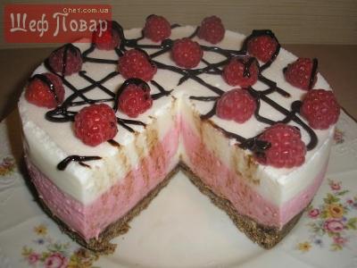 Малиновый торт без выпечки