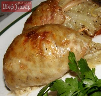 Картофель с грибами, запеченный в куриной коже