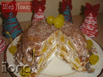 Блинный торт с персиками