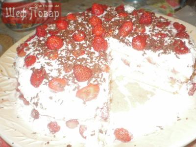 Торт с замороженной клубникой рецепт с пошагово