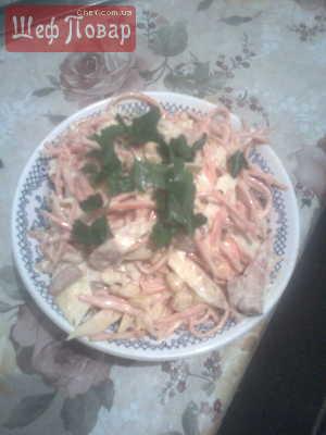 Салат с корейской морковкой и омлетом