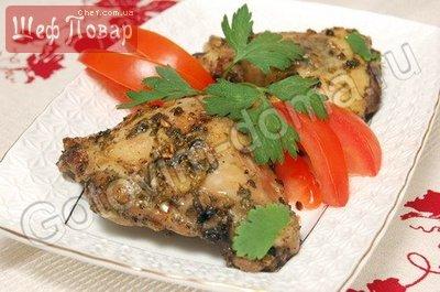 Куриные окорочка в маринаде из кинзы
