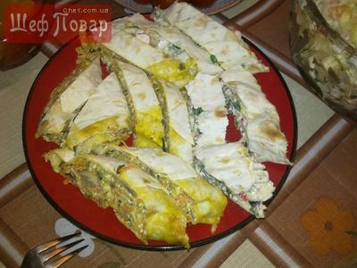 закуска из шампиньонов, сыра(творога), овощей и лаваша