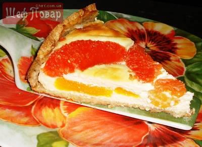 Творожный пирог с грейпфрутом и мандаринами без муки