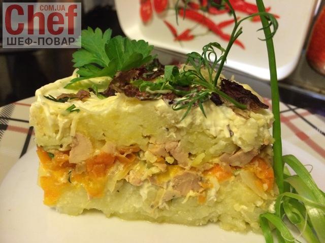 Салат из печени трески \