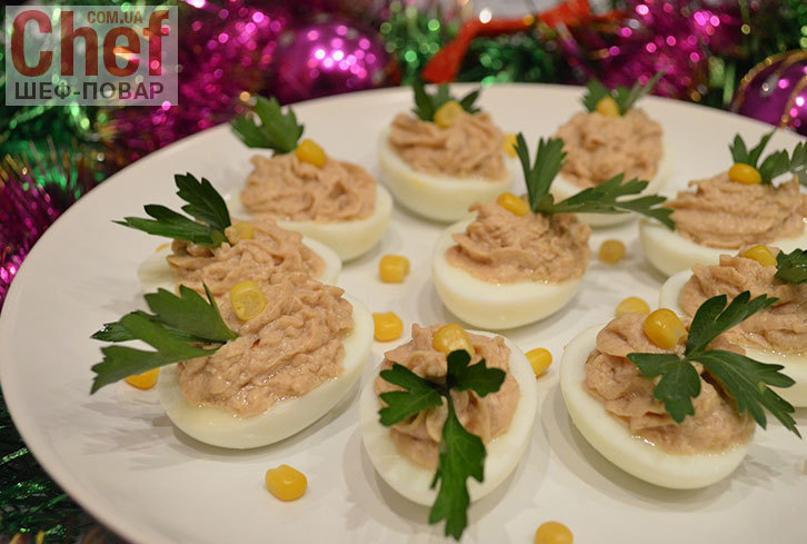 яйца фаршированные печенью трески рецепт от шеф повара