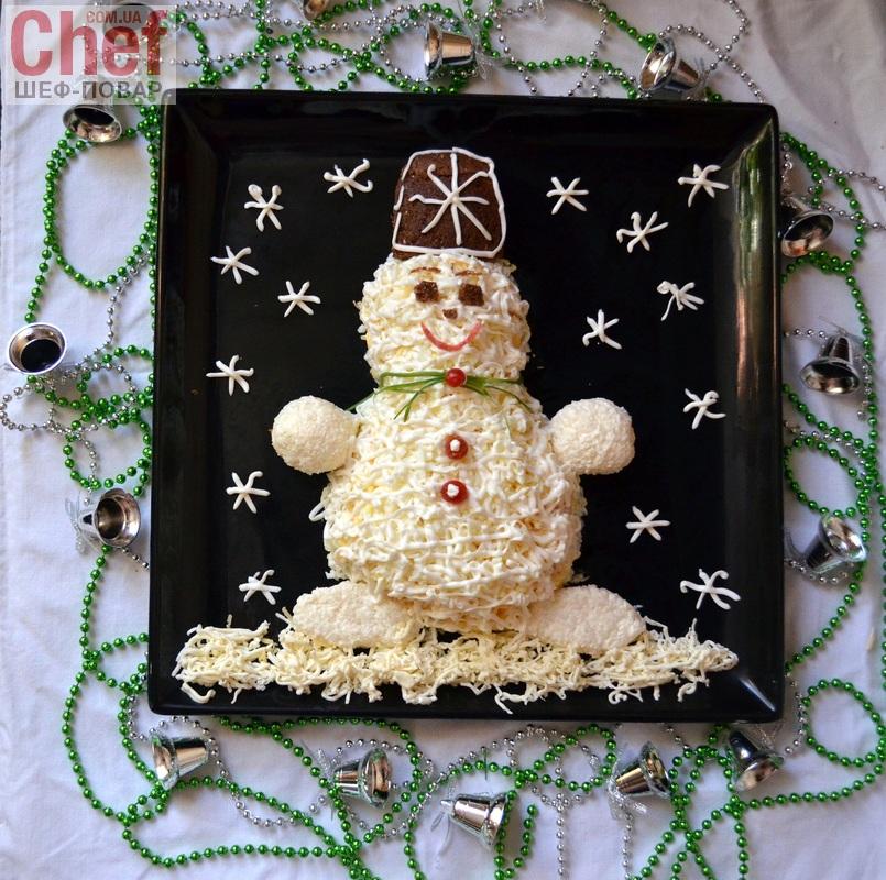 Салат снеговик с курицей